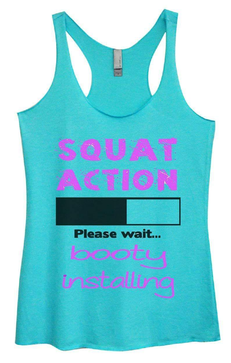 Womens Tri-Blend Tank Top - SQUAT ACTION Please Wait... Booty Installing Small Womens Tank Tops Vintage Blue