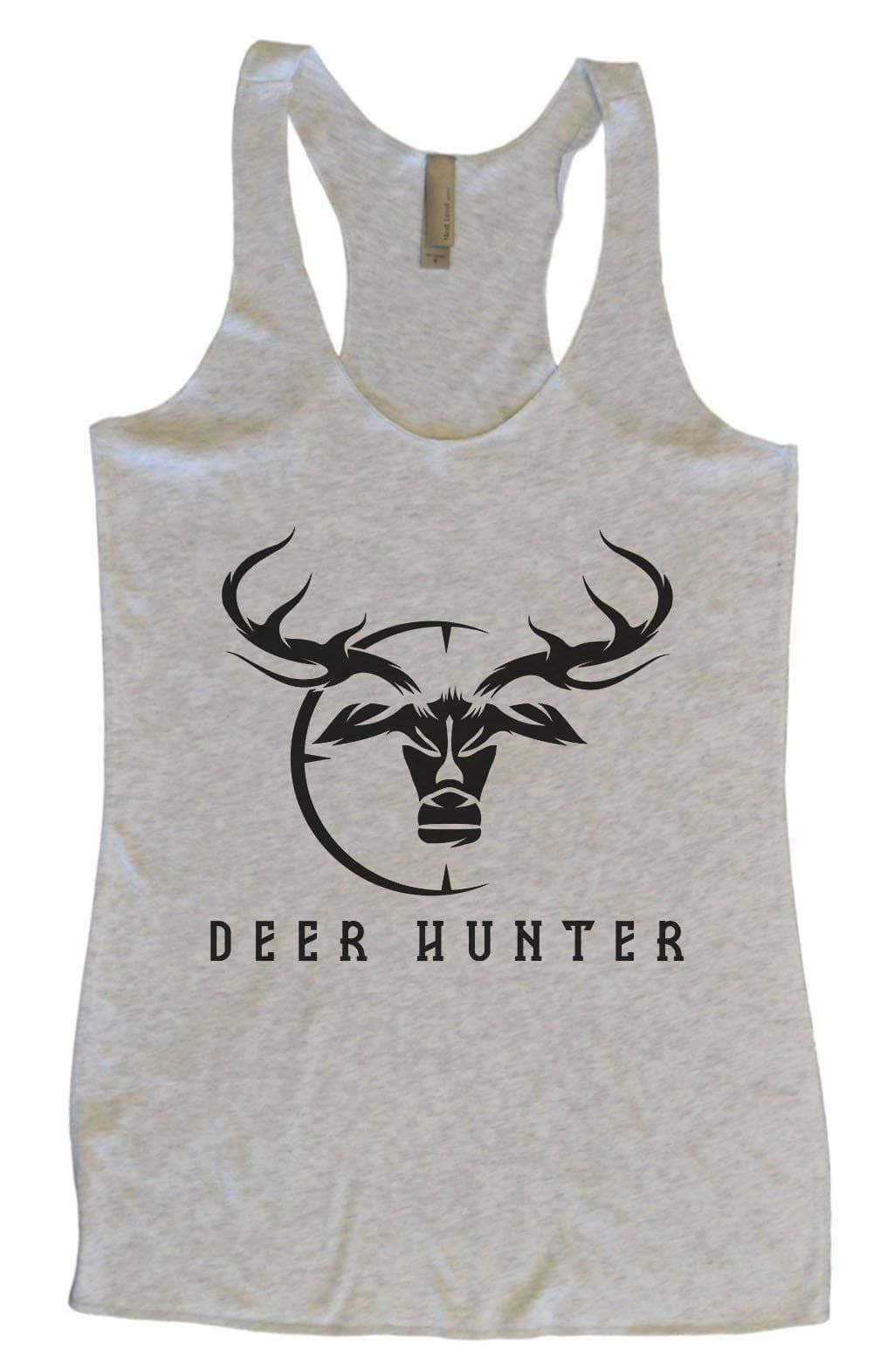 Womens Tri-Blend Tank Top - Deer Hunter Small Womens Tank Tops Vintage Grey