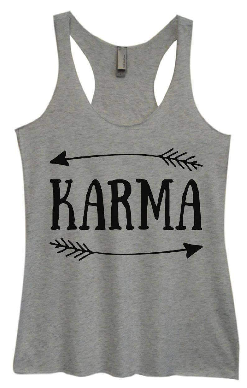 Womens Tri-Blend Tank Top - KARMA Small Womens Tank Tops Vintage Grey