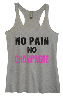 Womens Tri-Blend Tank Top - No Pain No Champagne Small Womens Tank Tops Vintage Grey