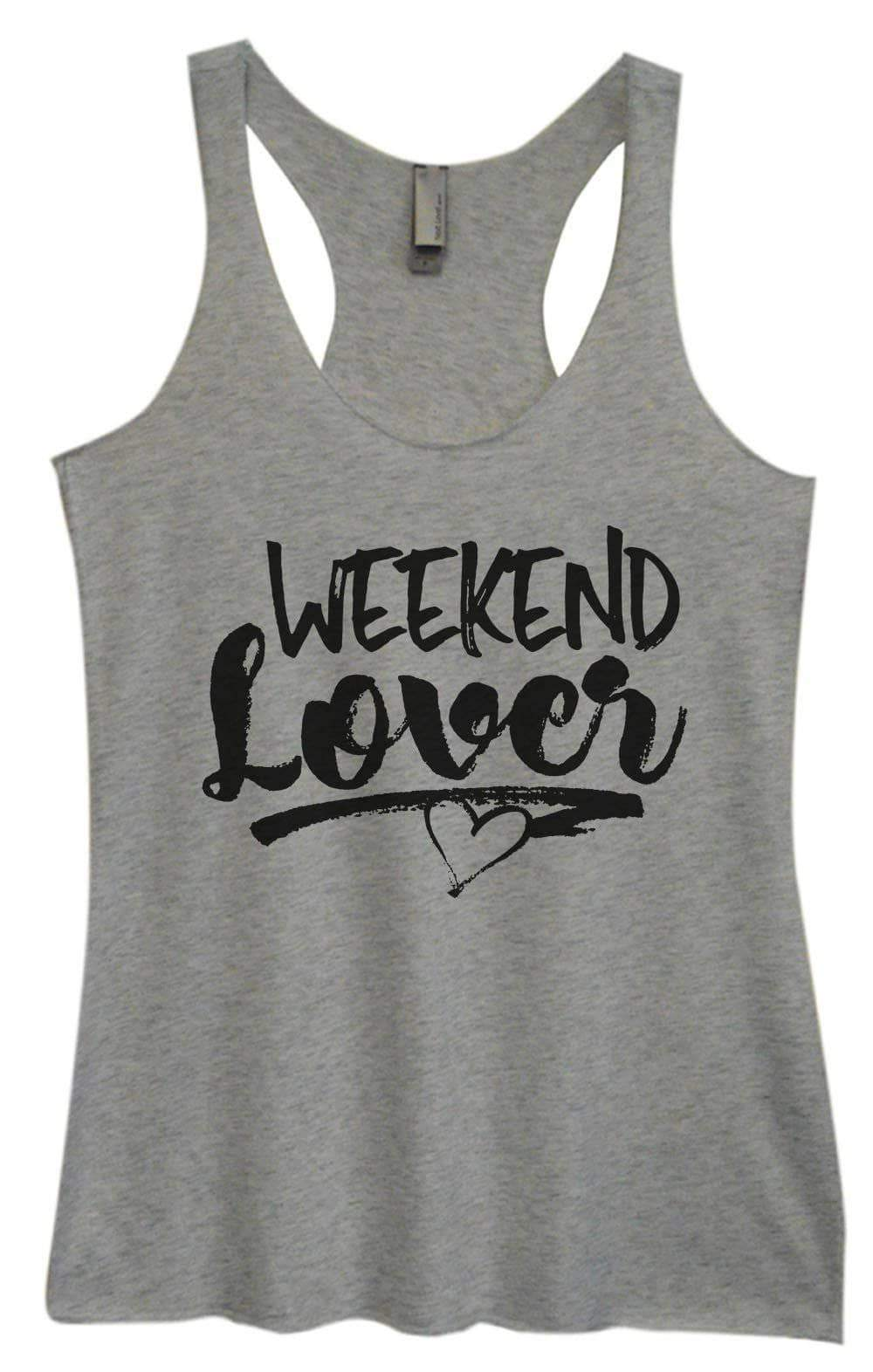 Womens Tri-Blend Tank Top - Weekend Lover Small Womens Tank Tops Vintage Grey