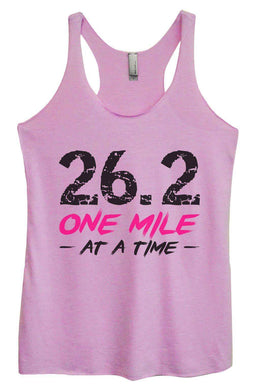 Womens Tri-Blend Tank Top - 26.2 One Mile At A Time Small Womens Tank Tops Vintage Lilac