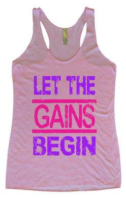 Womens Tri-Blend Tank Top - Let The Gains Begin Small Womens Tank Tops Vintage Lilac