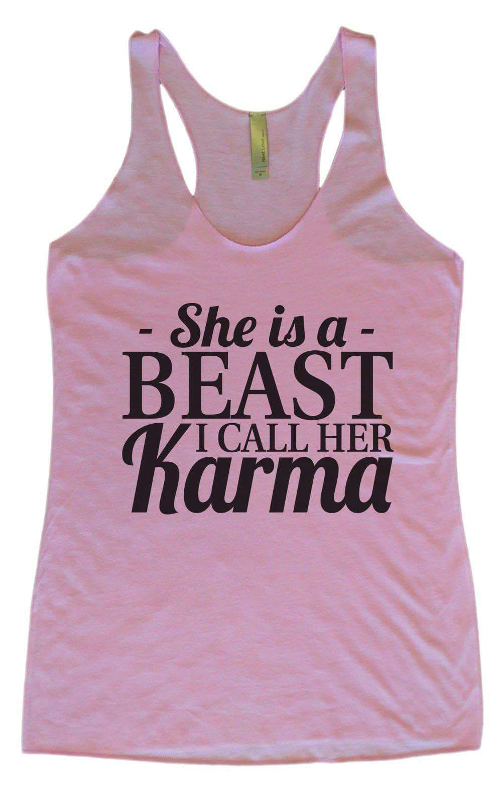 Womens Tri-Blend Tank Top - She's A Beast I Call Her Karma Small Womens Tank Tops Vintage Lilac