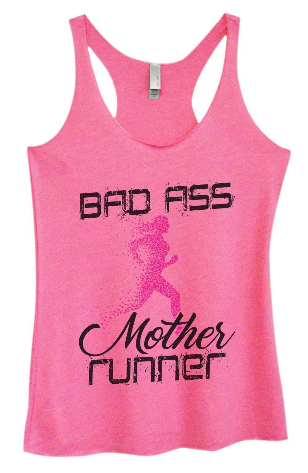 Womens Tri-Blend Tank Top - Bad Ass Mother Runner Small Womens Tank Tops Vintage Pink