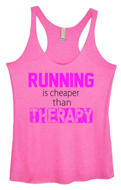 Womens Tri-Blend Tank Top - Running Is Cheaper Then Therapy Small Womens Tank Tops Vintage Pink