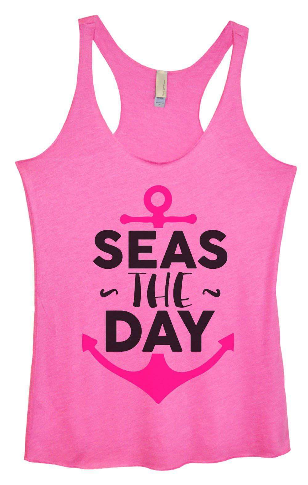 Womens Tri-Blend Tank Top - Seas The Day Small Womens Tank Tops Vintage Pink