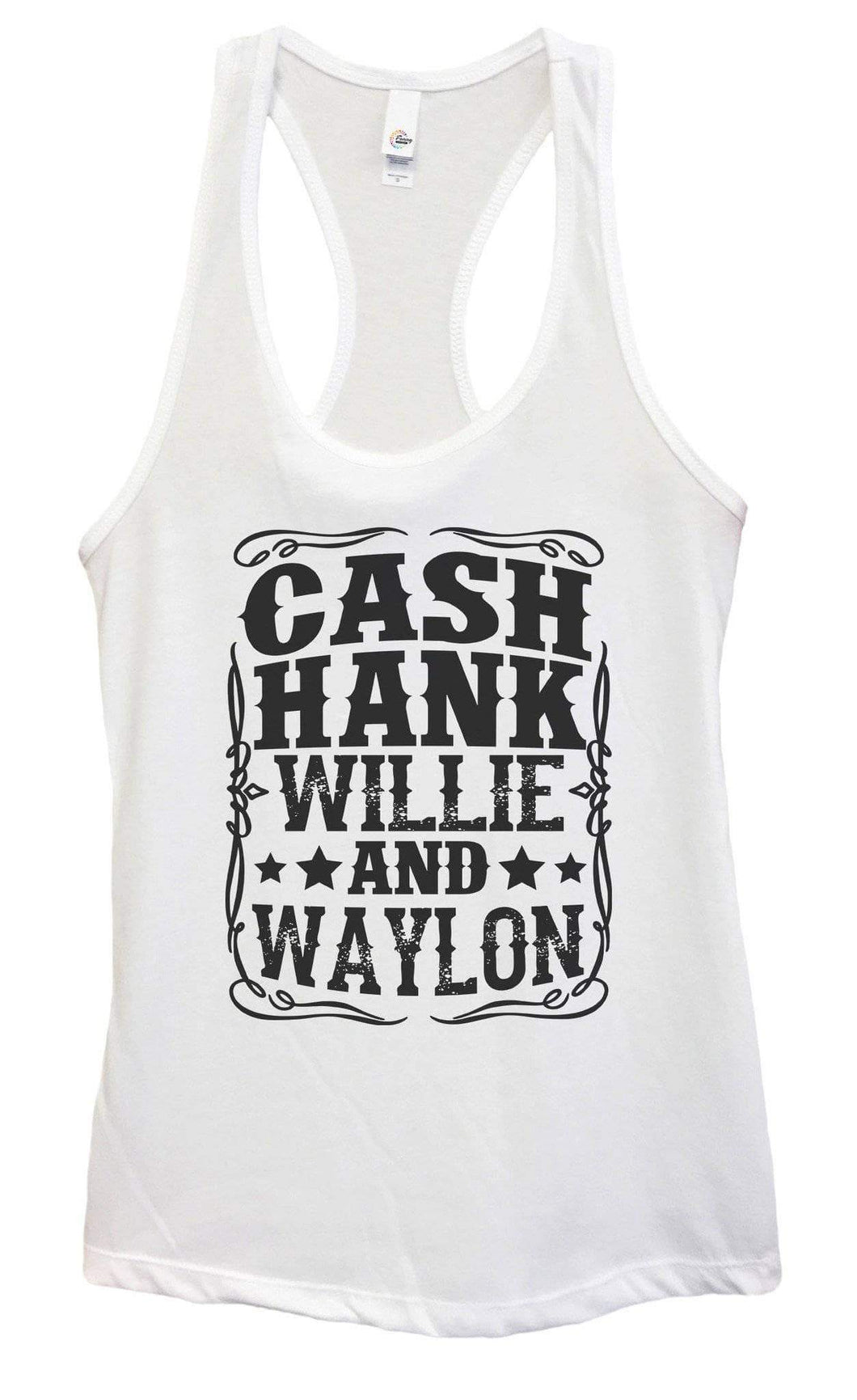 Womens Cash Hank Willie And Waylon Grapahic Design Fitted Tank Top Small Womens Tank Tops White