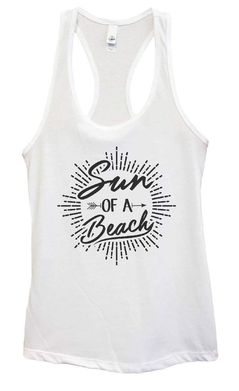 Womens Sun Of A Beach Grapahic Design Fitted Tank Top Small Womens Tank Tops White