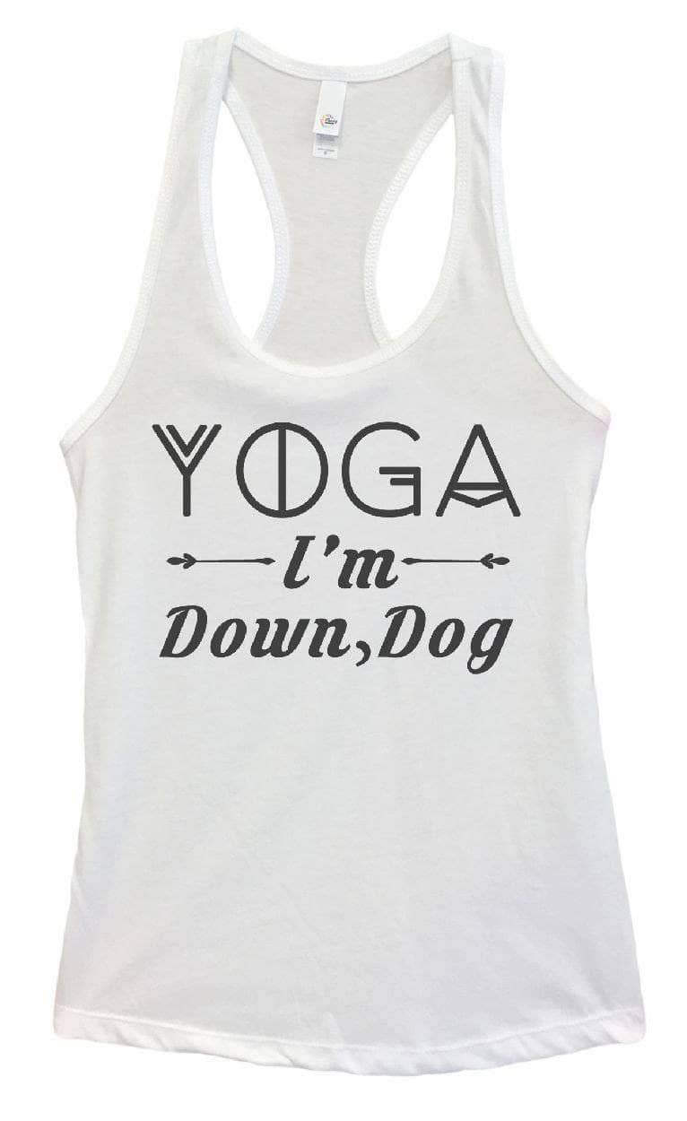 Womens Yoga I'm Down, Dog Grapahic Design Fitted Tank Top Small Womens Tank Tops White