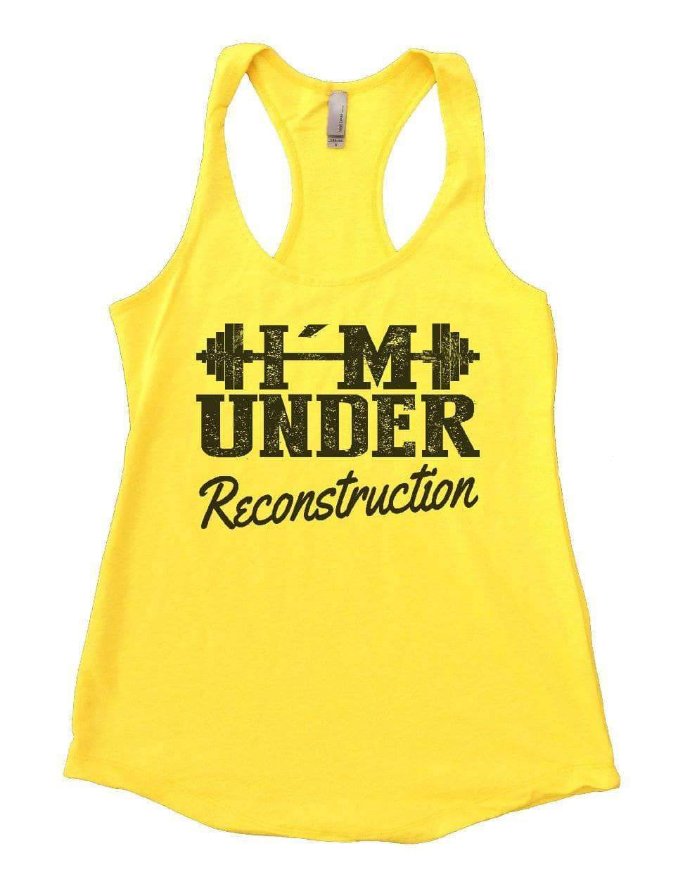 I'M UNDER Reconstruction Womens Workout Tank Top Small Womens Tank Tops Yellow