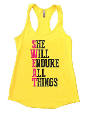 SHE WILL ENDURE ALL THINGS Womens Workout Tank Top Small Womens Tank Tops Yellow
