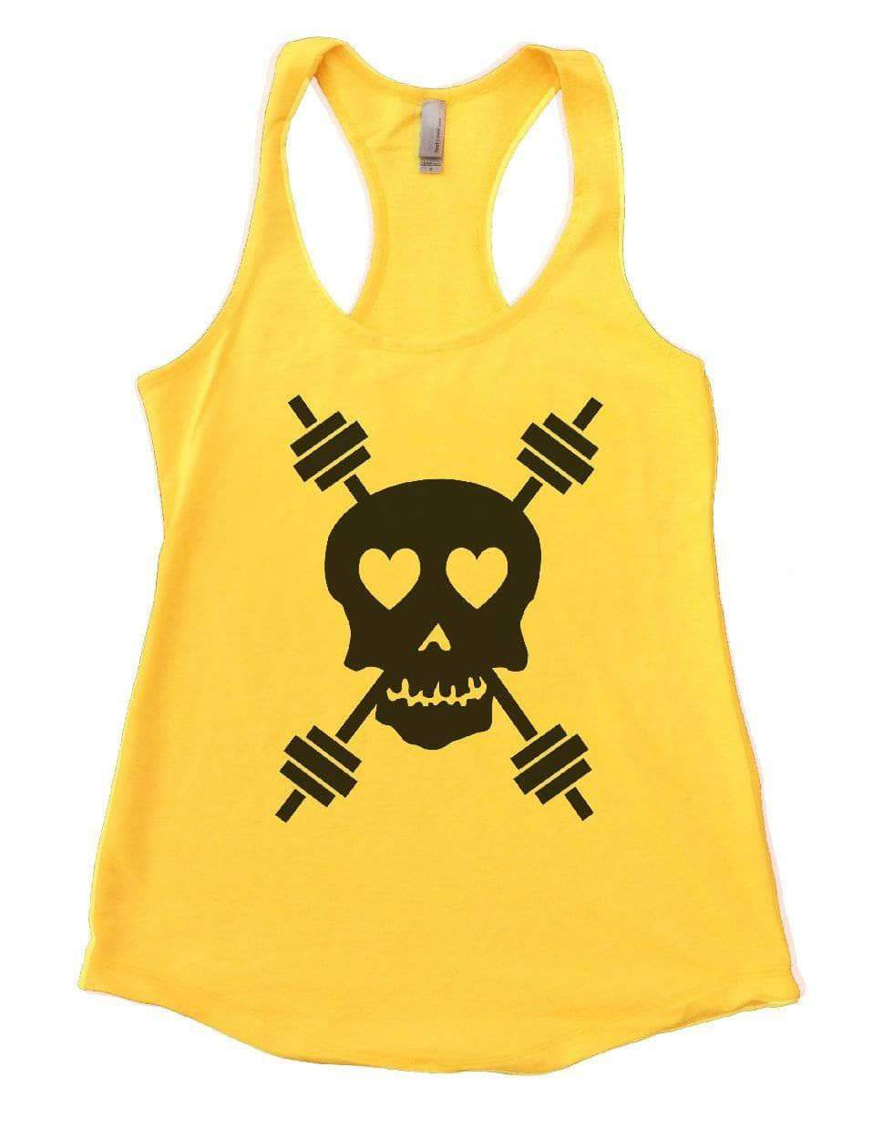 Skull Womens Workout Tank Top Small Womens Tank Tops Yellow