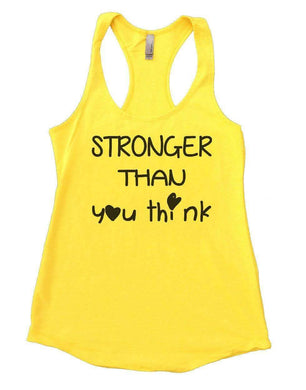 STRONGER THAN You Think Womens Workout Tank Top Small Womens Tank Tops Yellow