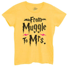 Womens From Muggle To Mrs Tshirt Small Womens Tank Tops Yellow Tshirt