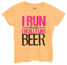 Womens I Run Because I Really Like Beer Tshirt Small Womens Tank Tops Yellow Tshirt