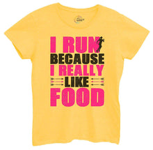 Womens I Run Because I Really Like Food Tshirt Small Womens Tank Tops Yellow Tshirt