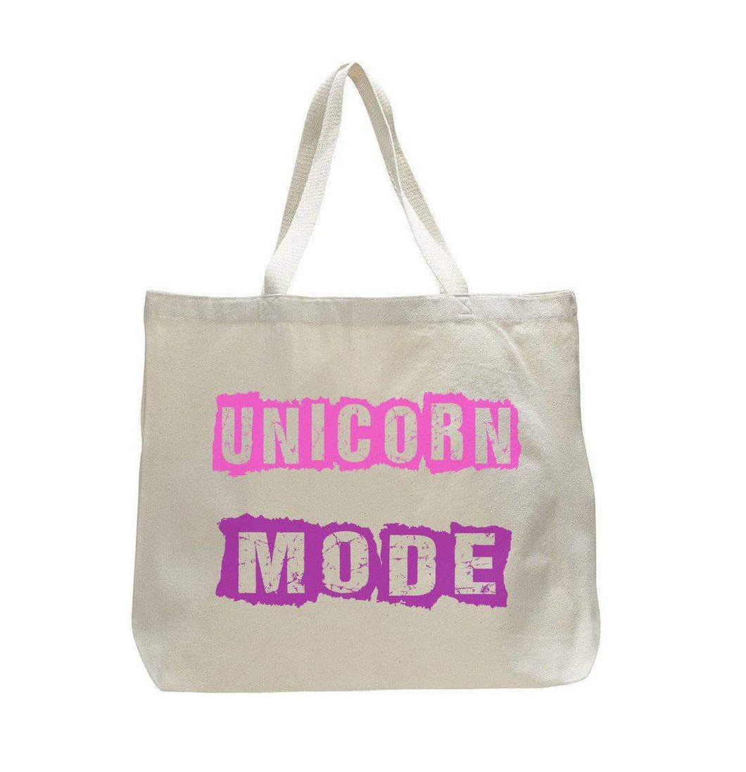 Unicorn Mode - Trendy Natural Canvas Bag - Funny and Unique - Tote Bag  Womens Tank Tops