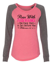 "Womens ""Run With Perseverance The Race That Is Set Before You"" Long Sleeve Elbow Patch Contrast Shirt X-Small Womens Tank Tops Mint"