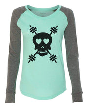 "Womens ""Skull"" Long Sleeve Elbow Patch Contrast Shirt X-Small Womens Tank Tops Mint"