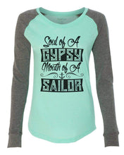 "Womens ""Soul Of A Gypsy Mouth Of A Sailor"" Long Sleeve Elbow Patch Contrast Shirt X-Small Womens Tank Tops Mint"