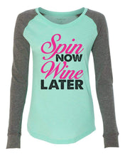 "Womens ""Spin Now Wine Later"" Long Sleeve Elbow Patch Contrast Shirt X-Small Womens Tank Tops Mint"