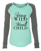 "Womens ""Stay Wild Moon Child"" Long Sleeve Elbow Patch Contrast Shirt X-Small Womens Tank Tops Mint"