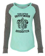 "Womens ""Team Captain Gryffindor Ouidditch"" Long Sleeve Elbow Patch Contrast Shirt X-Small Womens Tank Tops Mint"