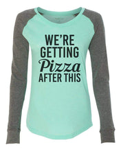 "Womens ""We're Getting Pizza After This"" Long Sleeve Elbow Patch Contrast Shirt X-Small Womens Tank Tops Mint"