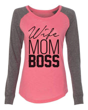 "Womens ""Wife Mom Boss"" Long Sleeve Elbow Patch Contrast Shirt X-Small Womens Tank Tops Mint"