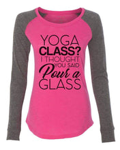 "Womens ""Yoga Class? I Thought You Said Pour A Glass"" Long Sleeve Elbow Patch Contrast Shirt X-Small Womens Tank Tops Mint"