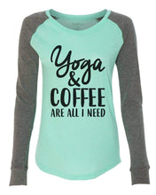 "Womens ""Yoga & Coffee Are All I Need"" Long Sleeve Elbow Patch Contrast Shirt X-Small Womens Tank Tops Mint"