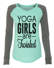 "Womens ""Yoga Girls Are Twisted"" Long Sleeve Elbow Patch Contrast Shirt X-Small Womens Tank Tops Mint"