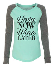 "Womens ""Yoga Now Wine Later"" Long Sleeve Elbow Patch Contrast Shirt X-Small Womens Tank Tops Mint"
