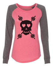 "Womens ""Skull"" Long Sleeve Elbow Patch Contrast Shirt X-Small Womens Tank Tops Peach"