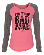 "Womens ""Something Bad Is About To Happen"" Long Sleeve Elbow Patch Contrast Shirt X-Small Womens Tank Tops Peach"