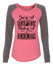"Womens ""Soul Of A Gypsy Mouth Of A Sailor"" Long Sleeve Elbow Patch Contrast Shirt X-Small Womens Tank Tops Peach"
