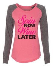 "Womens ""Spin Now Wine Later"" Long Sleeve Elbow Patch Contrast Shirt X-Small Womens Tank Tops Peach"