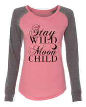 "Womens ""Stay Wild Moon Child"" Long Sleeve Elbow Patch Contrast Shirt X-Small Womens Tank Tops Peach"