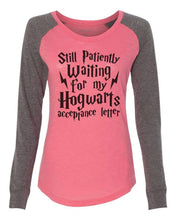 "Womens ""Still Patiently Waiting For My Hogwarts Acceptance Letter"" Long Sleeve Elbow Patch Contrast Shirt X-Small Womens Tank Tops Peach"