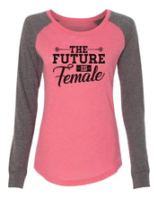 "Womens ""The Future Is Female"" Long Sleeve Elbow Patch Contrast Shirt X-Small Womens Tank Tops Peach"