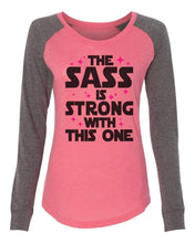 "Womens ""The Sass Is Strong With This One"" Long Sleeve Elbow Patch Contrast Shirt X-Small Womens Tank Tops Peach"