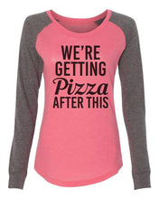"Womens ""We're Getting Pizza After This"" Long Sleeve Elbow Patch Contrast Shirt X-Small Womens Tank Tops Peach"