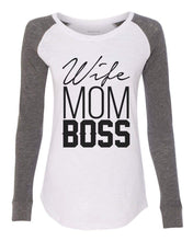 "Womens ""Wife Mom Boss"" Long Sleeve Elbow Patch Contrast Shirt X-Small Womens Tank Tops Peach"