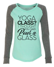 "Womens ""Yoga Class? I Thought You Said Pour A Glass"" Long Sleeve Elbow Patch Contrast Shirt X-Small Womens Tank Tops Peach"