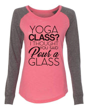 "Womens ""Yoga Class? I Thought You Said Pour A Glass"" Long Sleeve Elbow Patch Contrast Shirt  Womens Tank Tops"