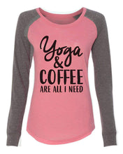 "Womens ""Yoga & Coffee Are All I Need"" Long Sleeve Elbow Patch Contrast Shirt X-Small Womens Tank Tops Peach"