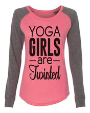 "Womens ""Yoga Girls Are Twisted"" Long Sleeve Elbow Patch Contrast Shirt X-Small Womens Tank Tops Peach"