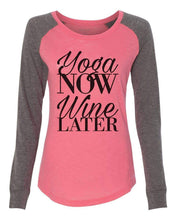 "Womens ""Yoga Now Wine Later"" Long Sleeve Elbow Patch Contrast Shirt X-Small Womens Tank Tops Peach"