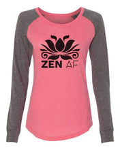 "Womens ""Zen Af"" Long Sleeve Elbow Patch Contrast Shirt X-Small Womens Tank Tops Peach"